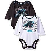 NFL Carolina Panthers Long Sleeve Bodysuit (2 Pack), 3-6 Months, Black