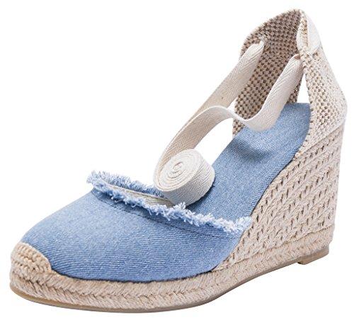Light Denim U-lite 3  Cap Toe Platform Wedges Sandals Women, Classic Soft Ankle-Tie Lace up Espadrilles shoes