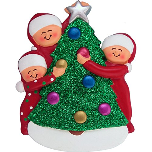 Personalized Decorating Tree Family of 3 Christmas Ornament 2019 - Friends Santa Hat in Red PJs Garnish Glitter Bauble Star Tradition Fun Holiday Activity - Free Customization (Three) -