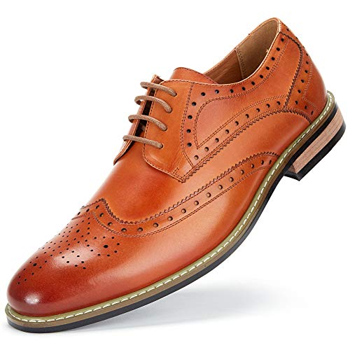 Cestfini Leather Wingtip Dress Shoes for Men Business Casual Shoes, Brogue Formal Shoes, Lace-up Oxford Shoes MS008-CAMEL-11