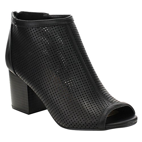 BAMBOO ED08 Women's High Stacked Chunky Heel Perforated Ankle Booties