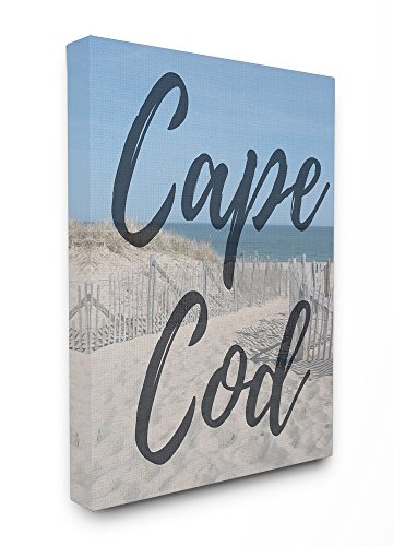 Stupell Industries Cape Cod Beach Typography Modern XXL Stretched Canvas Wall Art, Proudly Made in ()