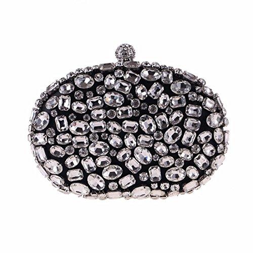 Black Del Diamante Embrague Fubulecy Las Acrílico Noche Mujeres Monedero De Bolso vaqpCwA