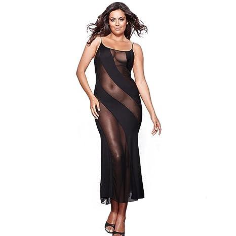 a03d9b446 ❤️Lencería Sexy mujer de talla grande atractivo Vestido de perspectiva  negro Ropa de dormir Clubwear