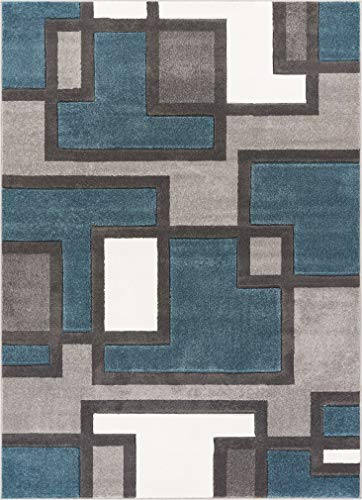 (Uptown Squares Blue & Grey Modern Geometric Comfy Casual Hand Carved Area Rug 8x10 8x11 ( 7'10
