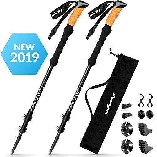 Ultra Strong Trekking Poles - Flip-Lock Hiking Poles - 2 Walking Sticks - 100% Carbon Fiber Hiking Sticks - Lightweight Walking Sticks - Trekking Pole Collapsible Set - 4 Season Hiking Accessories (Hiking Pole Accessory)