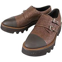 Brunello Cucinelli Brown Leather Double Monkstrap Shoes Size 7.5/37.5