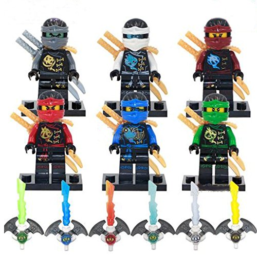 6Pcs/Set PhantomNinjaFigures Minifigures With Sword Mini Block Educational Toys DIY Building Blocks Brinks Size 4.5-5