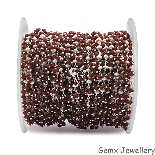 Gems-World Jewelry Red Agate with Pearl Gemstone Cluster Chain, Dangle Beads Chain, Wire Wrapped Beads Chain, Silver Plated Link Chain. (CCS-30)