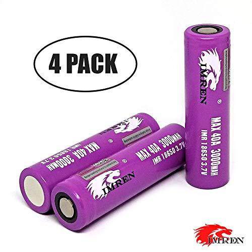 (4 PCS IMREN 3.7V 3000mAh Battery 40 AMP Comes with Energic Battery Organizer)