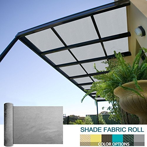 Coarbor 8Ft x 20Ft Shade Cloth Pergola Patio Cover Provide Shade Fabric Roll Mesh Screen Heavy Duty Provide Privacy Permeable UV Resistant Make to Order- Light Grey by Coarbor