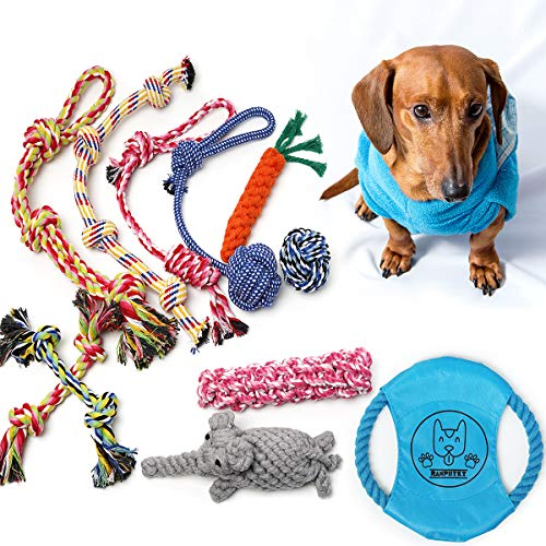 Ranphykx Dog Puppy Toys 11 Pack, Dog Rope Toys Puppy Chew Toys for Playtime Puppy Teething Toys, Dog Flying Disc, Washable Cotton Rope Dog Chew Tug Toy