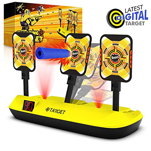 Phaxcoo Electronic Shooting Target Scoring Auto Reset 3 Digital Targets for Nerf Guns Blaster (Target For Gun)