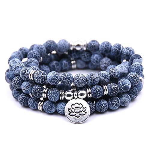 Summer Win 8mm 108 Amazonite Mala Beads Yoga Necklace Bracelet for Men Women for Yoga Buddhist Rosary Prayer Natural Gemstone Agate Jade (Weathered Stone)