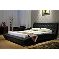 Greatime B1053-4 Queen Black Modern leatherette Platform Bed