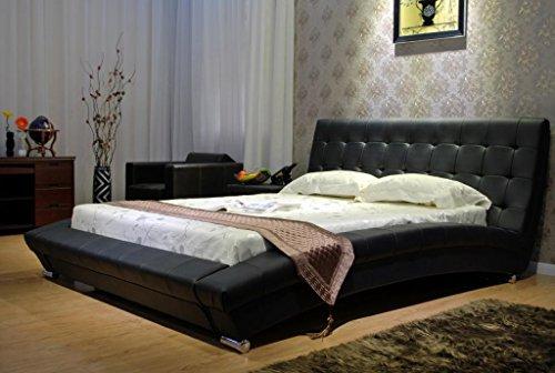GREATIME B1053-5 Calking Black Modern Leatherette Platform Bed