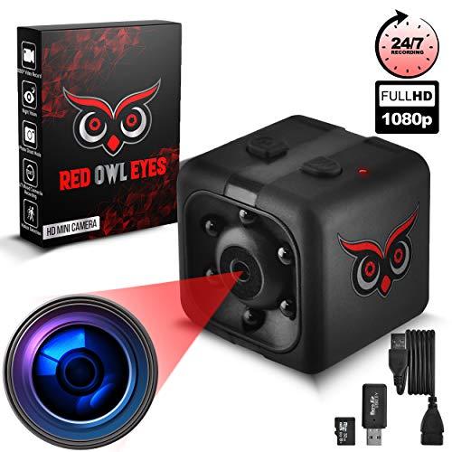 RED OWL EYES Spy Camera – Mini Hidden Camera 1080P Night Vision – Easy to Use Mini Camera Spy Wireless – Spy Cam Motion Detection – Nanny Camera – Small Camera – Secret Camera – 24/7 Recording
