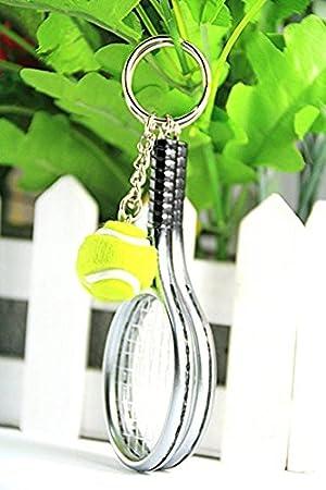 DGG - Llavero con colgante de raqueta de tenis, 1 pieza, regalo creativo (rojo) 2 Silver 02: Amazon.es: Hogar