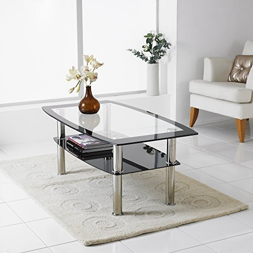 Puro Glass Coffee Table Clear: Cara Oval Clear And Frosted Glass Coffee Table: Amazon.co