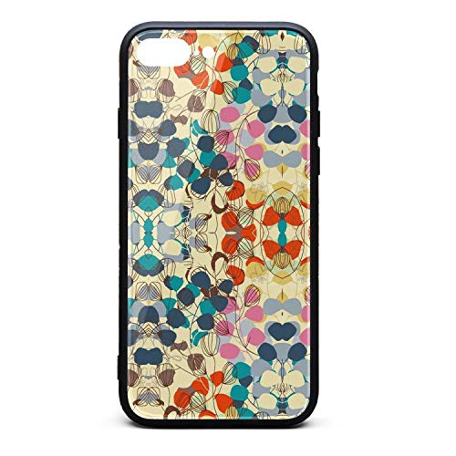Kaiui Aidof iPhone 8 Plus Case, iPhone 7 Plus Case 9H Tempered Glass Back Cover Anti-Scratch Watercolor Leaves Colorful Art Protective Phone Cover Compatible with iPhone 7 Plus/iPhone 8 Plus ()