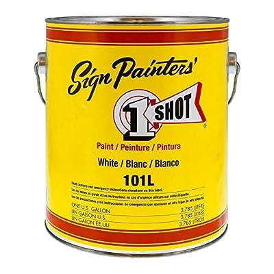 1 Shot Lettering White Pinstriping Lettering Enamel Paint, Gallon