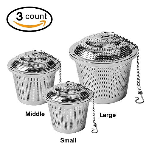 3-Pack Tea Infuser Set,Ultra Fine Stainless Steel Strainer,Loose Leaf Tea Infuser (3 Size Large Middle Small)
