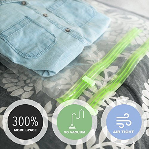 Acrodo Space Saver Travel Bags for Clothes - 10-pack for Compression Packing and Storage - No Vacuum Rolling Bag for Clothing