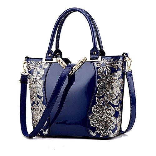 (G-AVERIL) Borsa 4Colour Bauletto da Donna Elegante con Manici e Tracolla in pelle Blu1