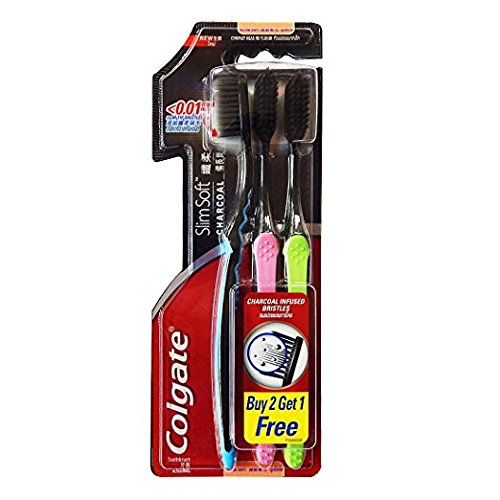 Colgate Slim Soft Charcoal Toothbrush (Pack of 3)