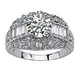 Palm Beach Jewelry Silver Tone Round Cubic Zirconia Vintage Style Engagement Anniversary Ring Size 6