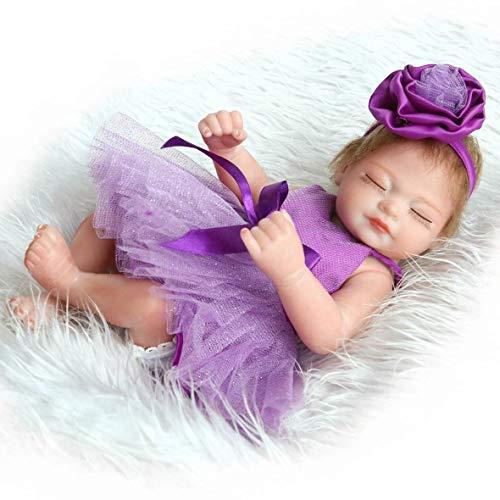 Tivolii Vestido Morado de Cuerpo Completo de Silicona Chica renacida Juguetes de muñeca bebé Jugar a casa de Juguete