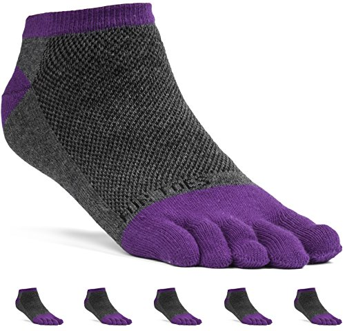 FUN TOES Women's Cotton Toe Socks Barefoot Running Socks -PACK OF 6 PAIRS- Size 9-11 -Lightweight- (Grey/Purple) by FUN TOES (Image #2)