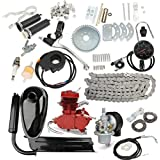 HITSAN Upgraded 80cc 2 Stroke Motorized Bicycle Gas Engine Motor Kit with Speedometer Red