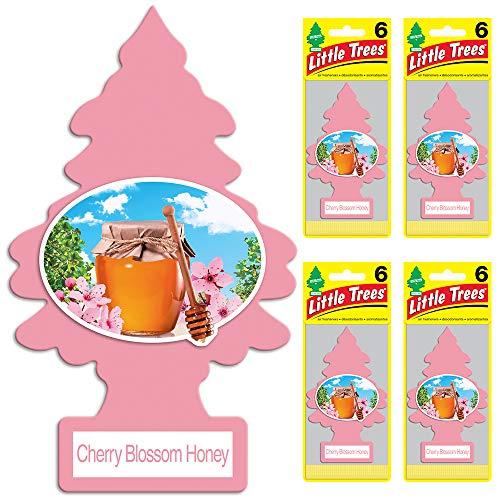 (Little Trees auto air freshener, Cherry Blossom Honey, 6-Packs (4)