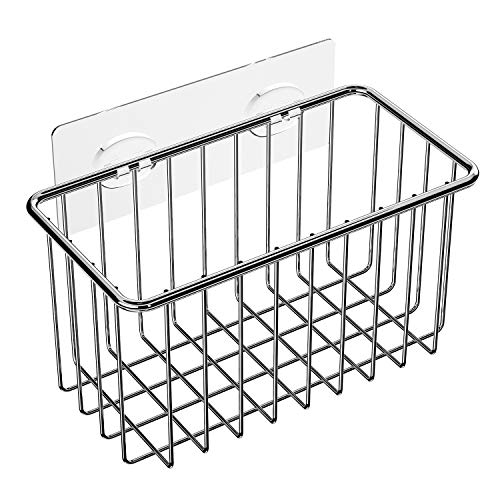 SMARTAKE Sink Caddy, Kitchen Sink Holder with Adhesive for Sponge, Brush and Dish Soap, Durable Sink Organizer Draining Rack, Stainless Steel