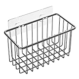 SMARTAKE Shower Caddy, SUS304 Stainless Steel Bathroom Shelf Basket with Adhesive, Wall Mounted Storage Organizer for Toilet, Dorm and Kitchen Sink, Silver