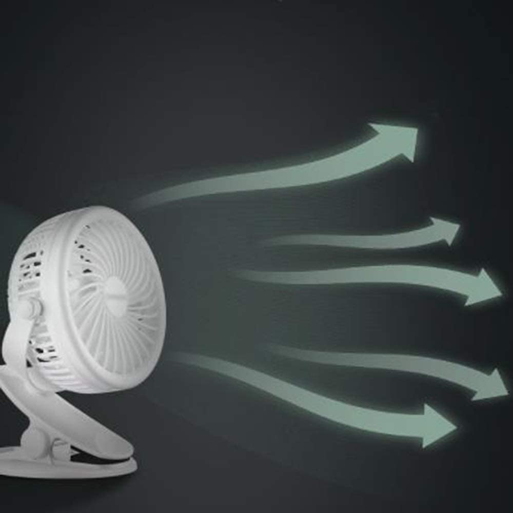Office use Small Stroller Fan with Silent Portable Small Table Fan Color : White LMMNFS USB Mini Fan Suitable for Home with Desk lamp Function Clip-on Small Personal Fan