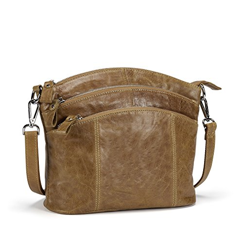 Lecxci Luxury Genuine Leather Cross Body Purses, Zipper Makeup Smartphone Wallets, Over The Shoulder Bags for Women Teen Girls (Wax Leather, Tan)