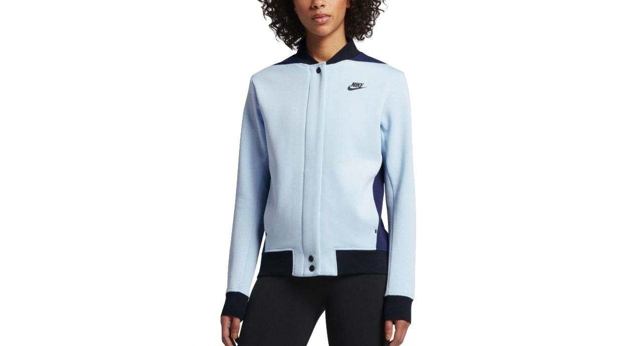 Nike Tech Fleece Destroyer Women's Jacket (S, Glacier Blue/Binary Blue/Black-Black)