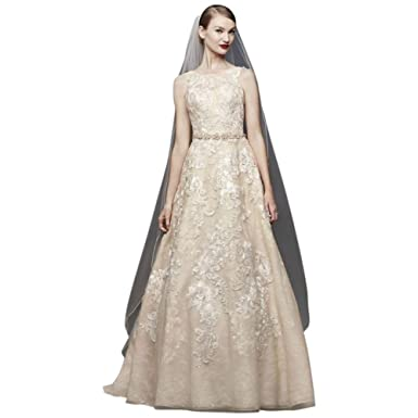 a6300d094 Lace and 3D Floral A-line Wedding Dress Style CWG806, Gold, 8 at Amazon  Women's Clothing store: