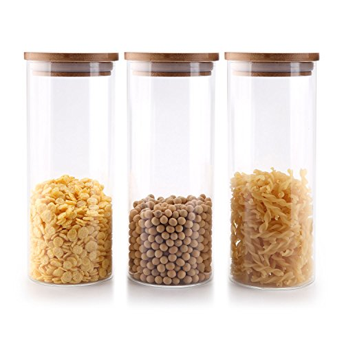 Rachel's choice 30oz High Borosilicate Glass Cylinder Airtight Food Storage Container Canister Jar with Bamboo Lid & Silicone Sealing Ring Set of 3