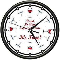 SignMission Wine TIME Wall Clock Drink Alcohol Happy Hour Funny Gift, Beagle