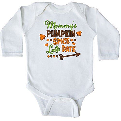 (inktastic Mommy's Pumpkin Spice Latte Date Long Sleeve Creeper 6 Months White)
