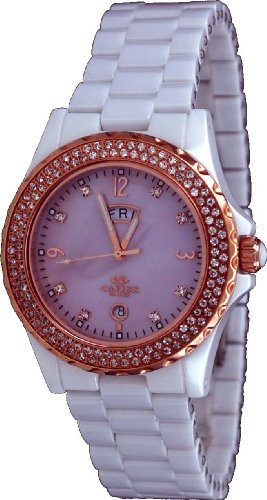 Oniss #ON6200-LRG Women's Crystal Accented Bezel and Index Pink MOP Dial White Ceramic Watch