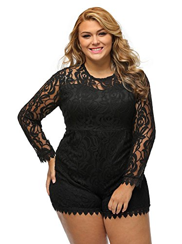 Fashion Women Lace Round Neck Long Sleeve Sexy Transparent Perfect Casual Plus Size Womens Romper for Women 2XL/XX-Large Black
