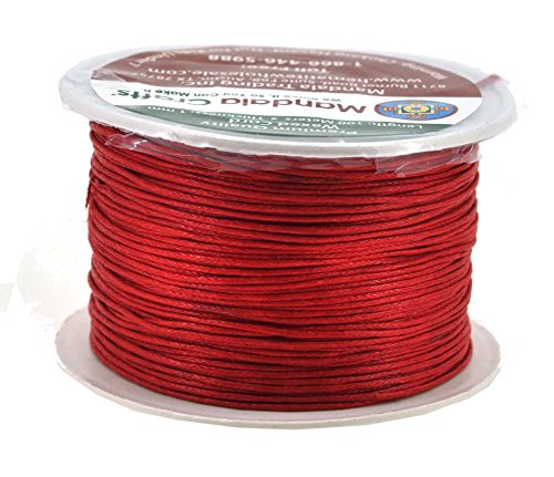 Cotton Bracelet Thread - Mandala Crafts 1mm 109 Yards Jewelry Making Crafting Beading Macramé Waxed Cotton Cord Thread (Red)