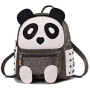 H&N Fashion PU Rivet Bronze Mini Casual Style Panda Backpack/Shoulder/ Book Bag