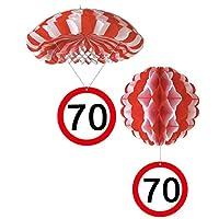 Sortiert 1 Deko Ballon oder 1 Deko Fallschirm mit Schild 70. Geburtstag