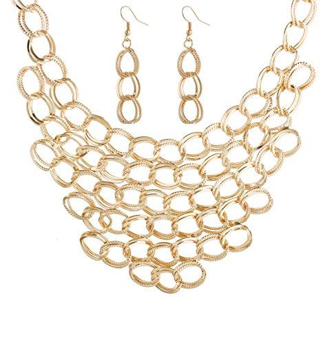Isaloe Women Choker Necklace Statement Crochet Bib Necklace Earring Sets (Gold)