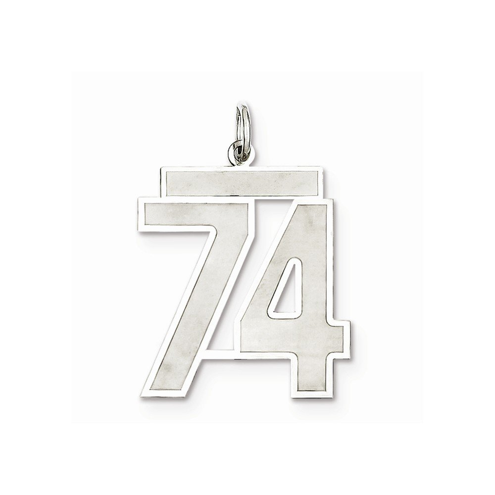 925 Sterling Silver Number 74 Pendant Digit Seventy Four Charm Satin Fashion